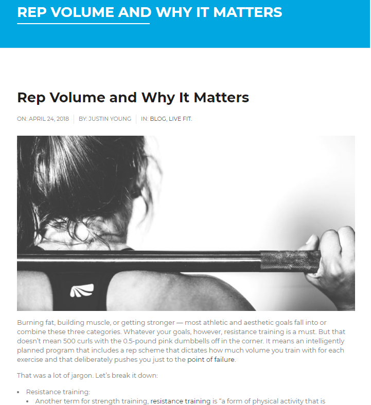 Rep Volume and Why It Matters