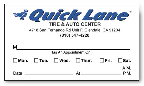 QUICK LANE APPOINTMENT