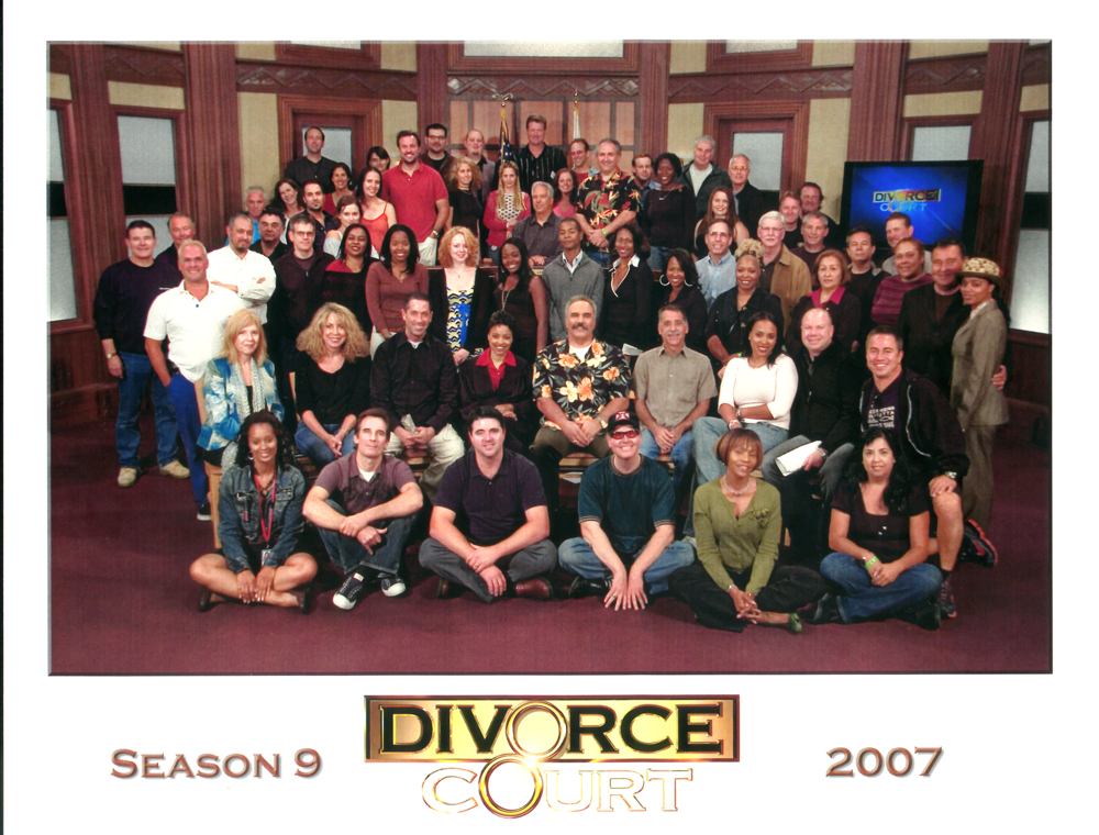 Jimmy (tall guy in center, back row) was the announcer on FOX's Divorce Court for 12 glorious seasons.