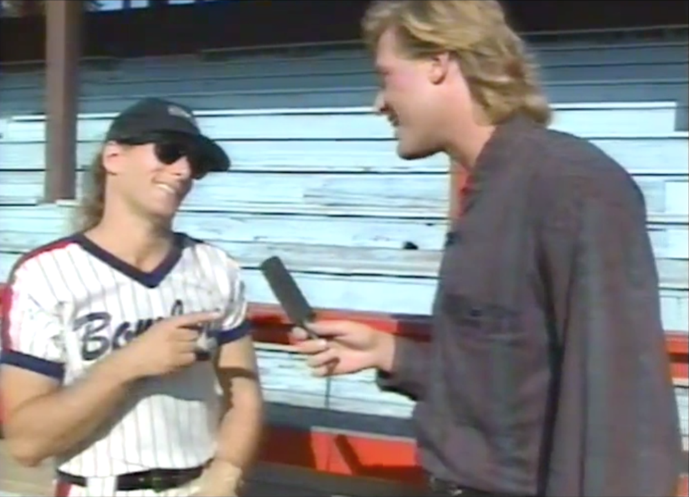 Michael Bolton and Jim did a Family Channel special in 1991 which included a charity softball game scene and a freakishly small microphone.