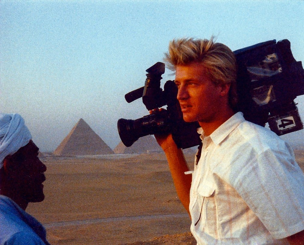 Here Jim asked for directions to the Pyramids from a local Egyptian, 1989.