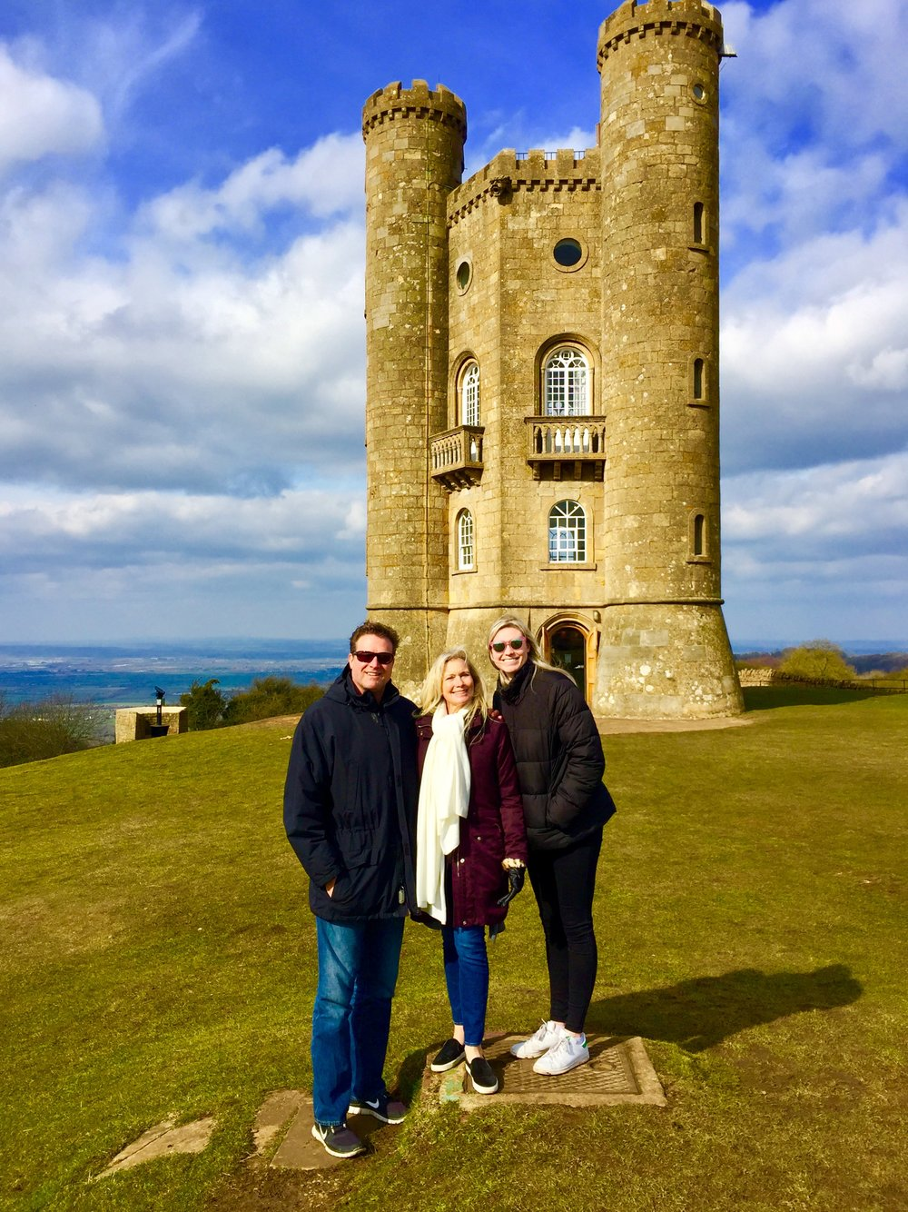 The tall Hodsons in front of a suitable castle in the Cotswolds, UK. (It's only a model.)