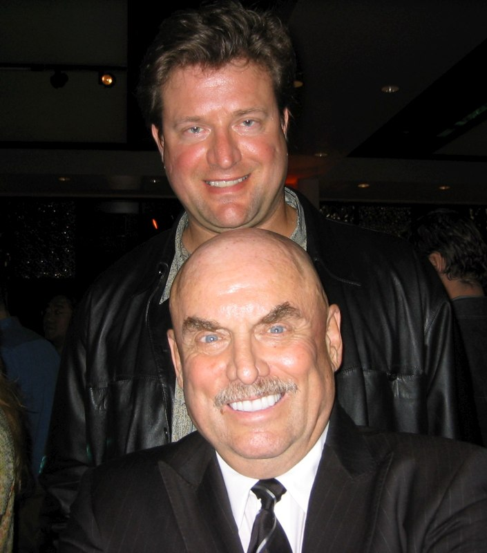 Jim towering over the late movie trailer king Don LaFontaine at the Key Art Awards, Hollywood.