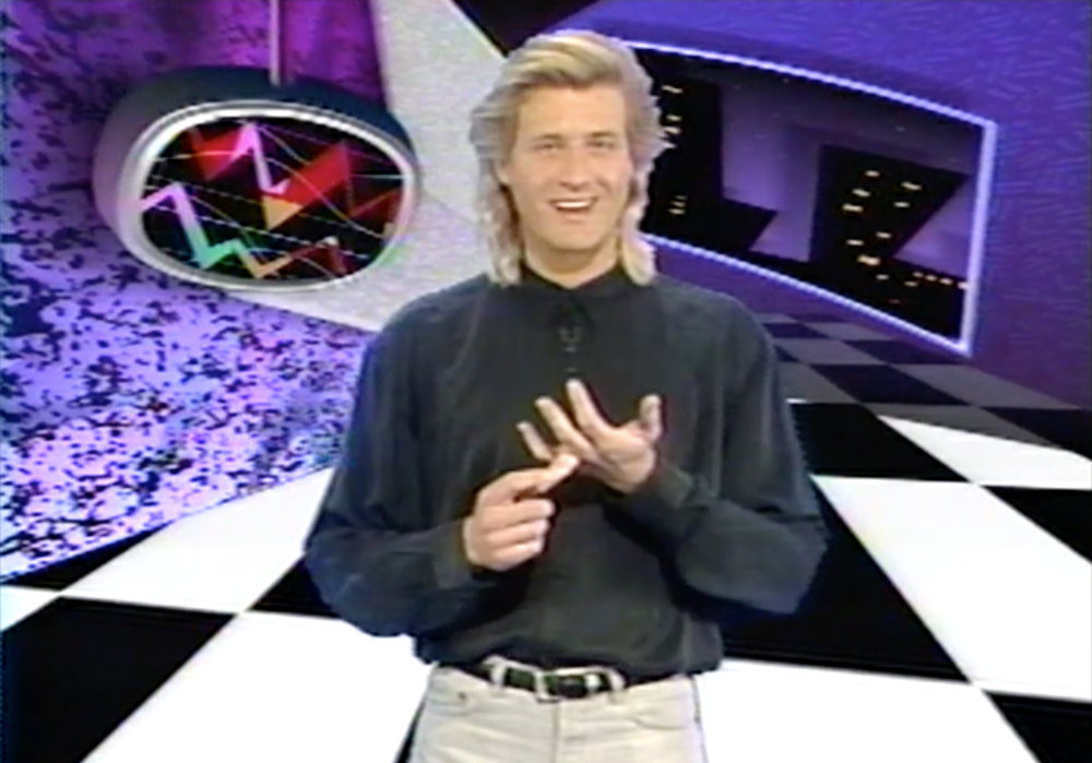 Hosting Videosyncrasy on the Family Channel in 1990.