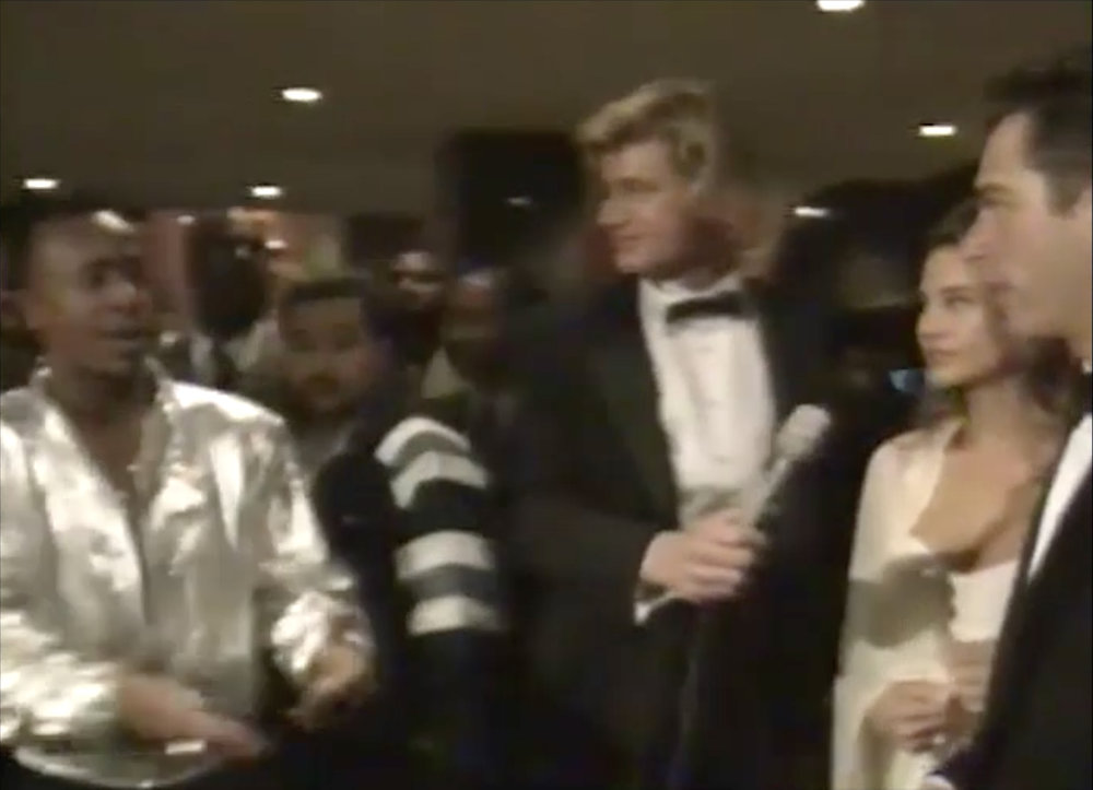 "NYC Grammys, 1991. Hammer interrupts Jim's interview with Jill Goodacre and Harry Connick, Jr. Jim and Scott Rummell had once MC'd Hammer's concert when he was called ""Holy Ghost Boy."""