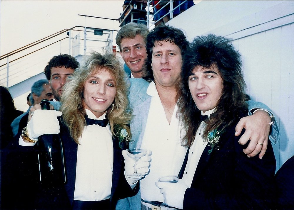 1986, lightning in a bottle. Recording artist Michael W. Smith, Robert Sweet of Stryper, Jimmy, agent John Huie, Michael Sweet of Stryper at Robert's wedding, Queen Mary, Long Beach, CA.