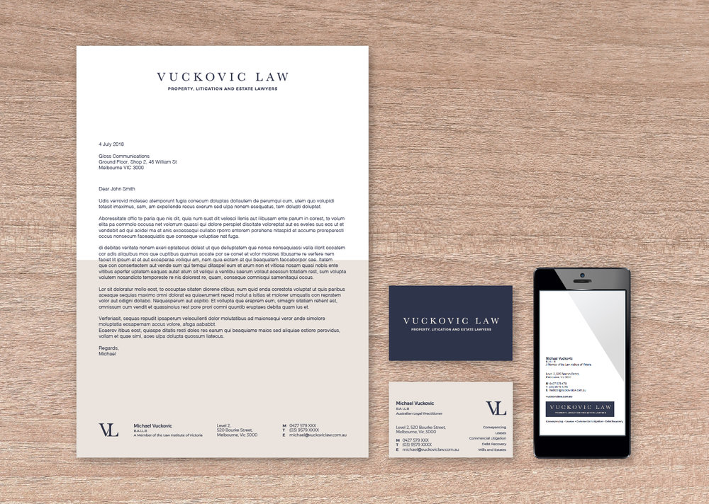 Letterhead, Business Cards and Email Signature.