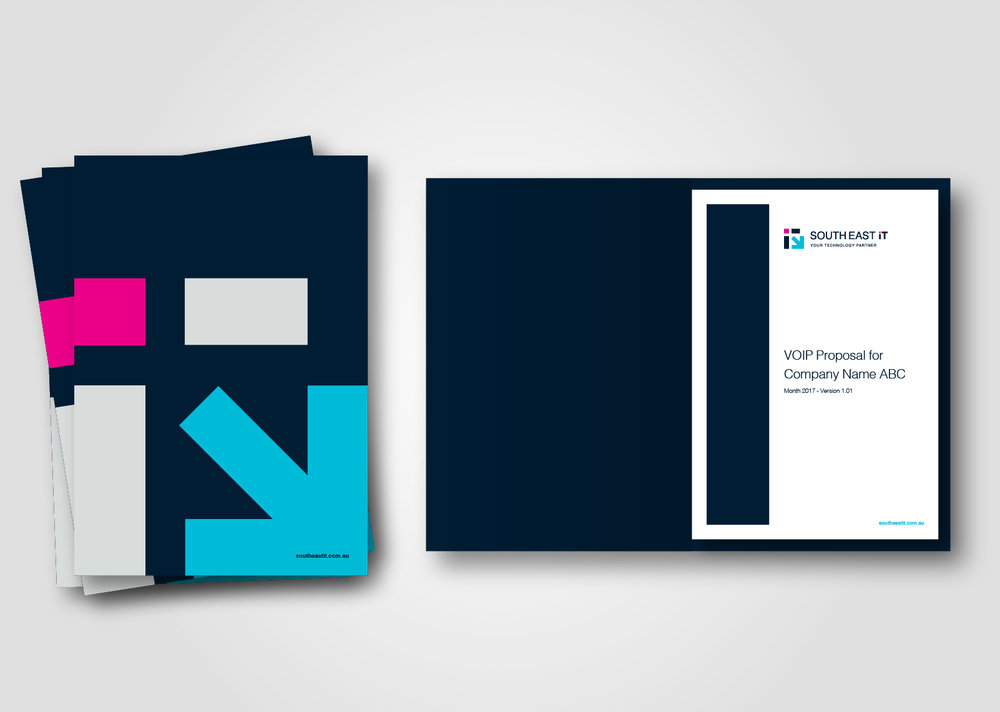 The new icon was incorporated into the design of a Presentation Folder.