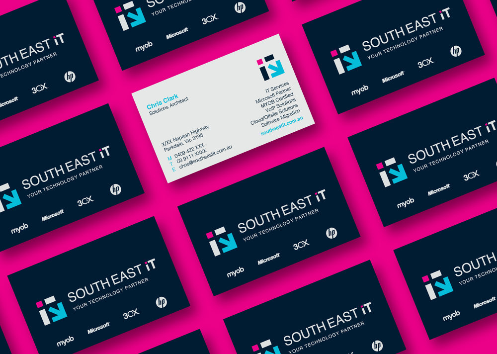 Business card designs by Gloss for South East IT.