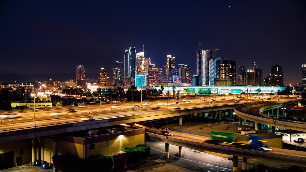 THE BILLBOARD FACES this VIEW [i-10 & i-110 interchange], which is one of the busiest views in los angeles.