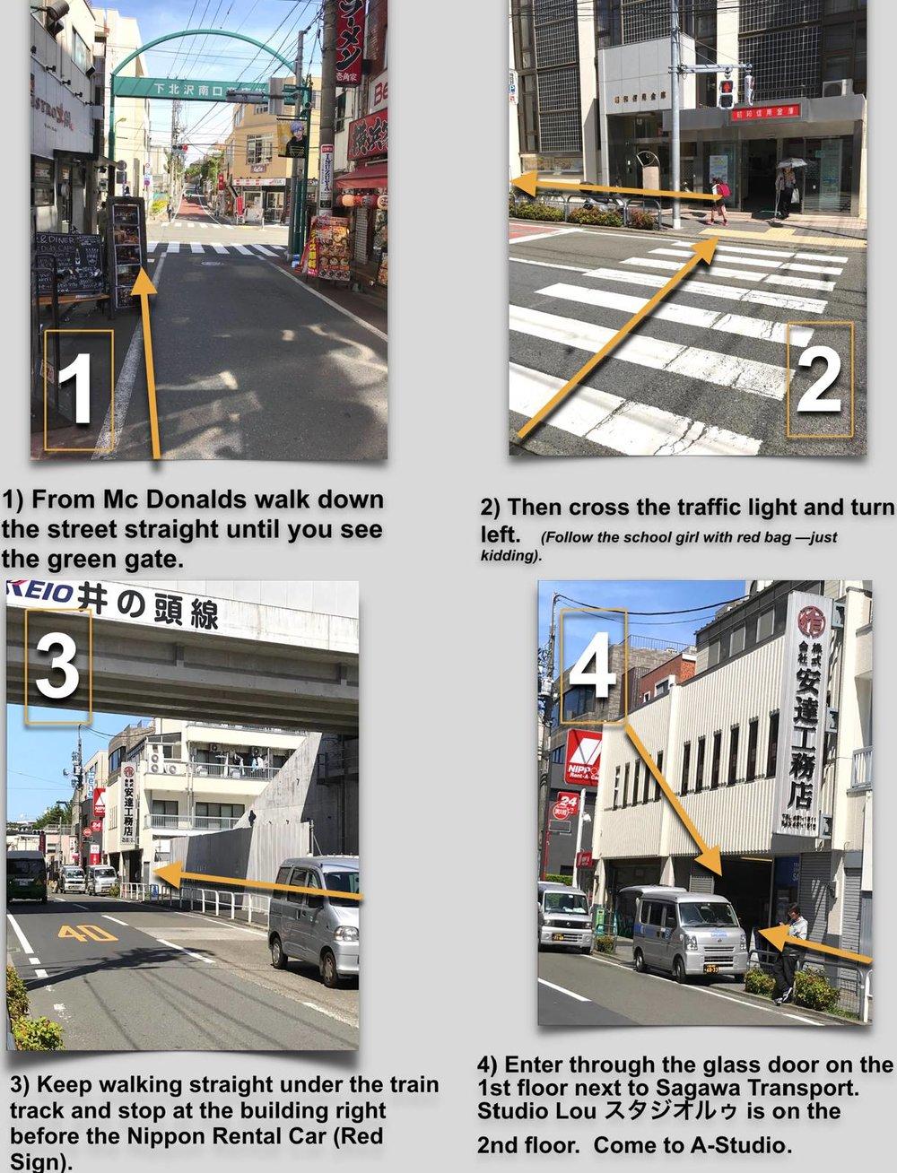 Studio Lou DIRECTIONS - 4 minutes from Shimokitazawa Southwest Exit2 minutes walk from McDonalds Shimokitazawa