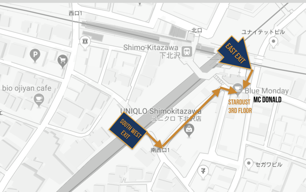 DIRECTIONS - 2 minute walk from South-West Shimokitazawa Exit
