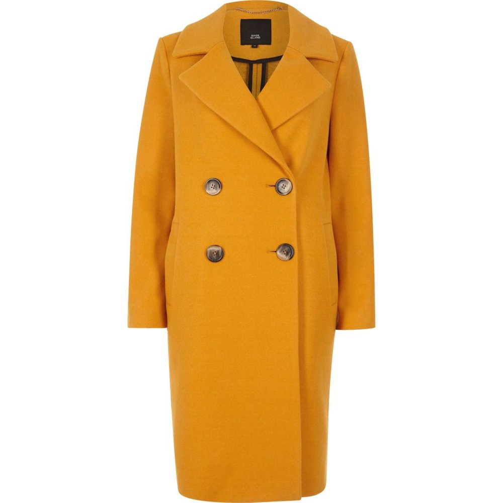 I SHAPE - The I shape is a slim, balanced body shape without a defined waist. You wear the same size top and bottom and you can wear most things! The contrasting buttons on this double breasted coat create horizontal lines that broaden, so isn't ideal for some shapes. But I shapes can rock this yellow number!Yellow wool coat, River Island, £80