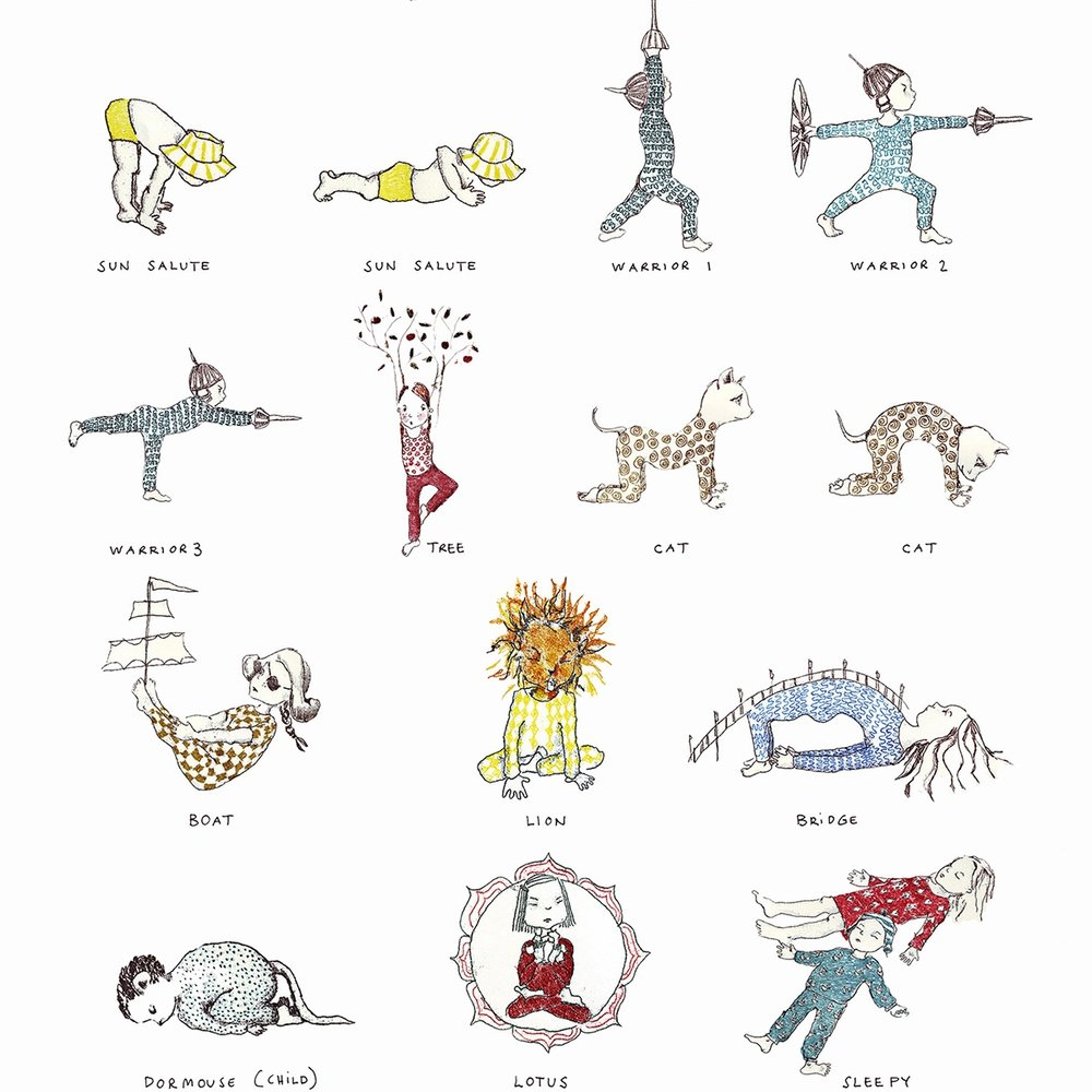 Yoga Posters by Karin Eklund - Beautiful kids yoga posters illustrated by Karin Eklund. She also has written and illustrated some lovely children's books.