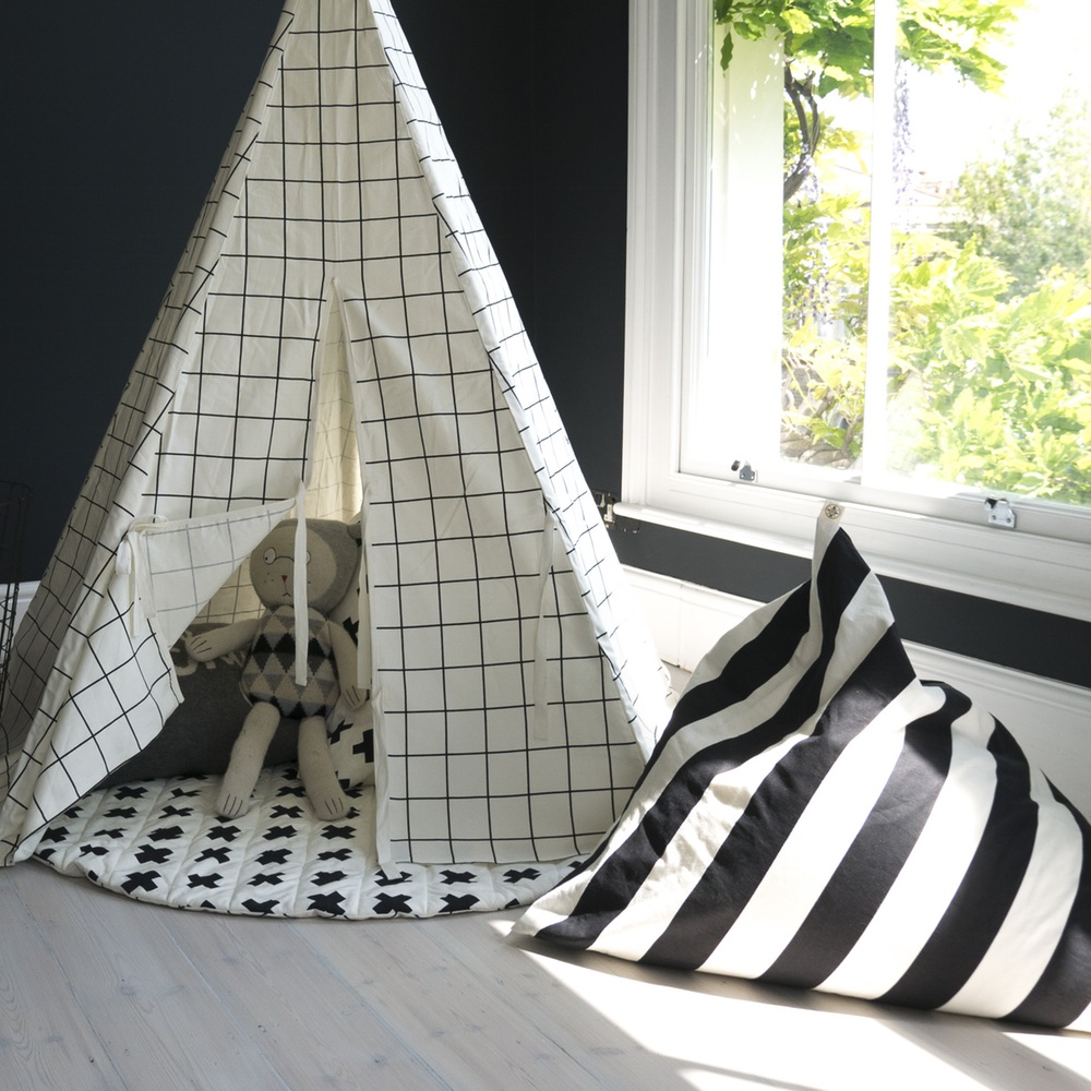 Wildfire Teepees Grid Print Teepee - Children love having their own little nooks to hide in and escape! We couldn't love teepees more as a fun option for the little ones to retreat to, have some quiet time, enjoy a book and play.
