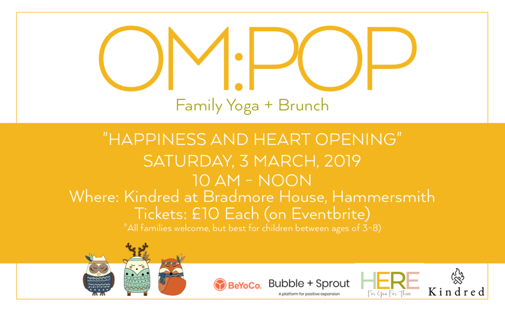 Om:Pop Family Yoga and Brunch, Hammersmith London at Kindred, Dana Dyksterhuis, Jen Armstrong, Karin Schrijvers, Hammersmith Yoga