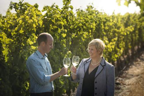 Cellar Master Johann Fourie and owner Penny Streeter enjoying a glass at the Benguela Cove Lagoon Wine Estate