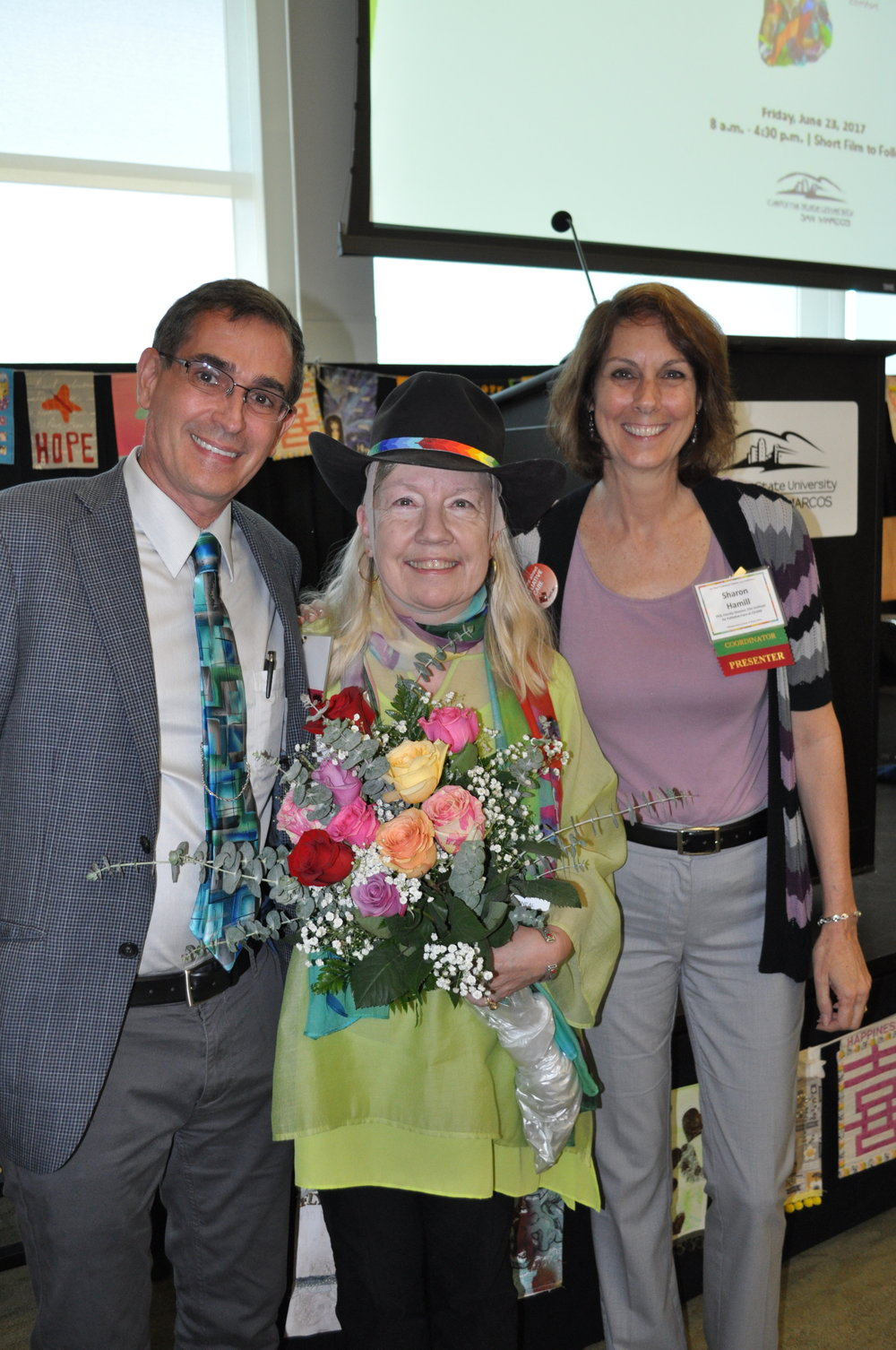 Karl Steinberg, MD (left) with first Executive Director of CSUSM Institute of Palliative Care (Helen McNeal - center) and Sharon Hamill, PHD Faculty Director of Institute of Palliative Care at CSUSM (right).