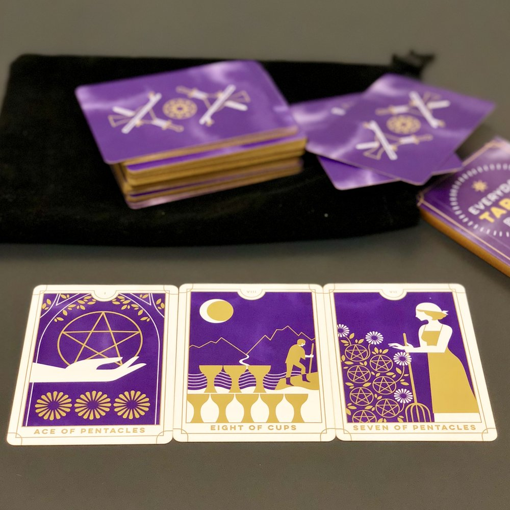 A three-card Problem–Solution–Outcome spread can help you uncover a creative solution to a difficult situation, whatever the specifics. The cards pictured here are from the Everyday Tarot by Brigit Esselmont and illustrated by Eleanor Grosch © 2018, published by Running Press Miniature Editions, Hachette Book Group .