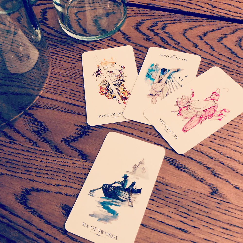With four cards, you can dive deep into the questions that matter most to you. The cards pictured here are from the Linestrider Tarot by Siolo Thompson © 2016 Llewellyn Worldwide, Ltd. 2143 Wooddale Drive, Woodbury, MN 55125. All rights reserved, used by permission.