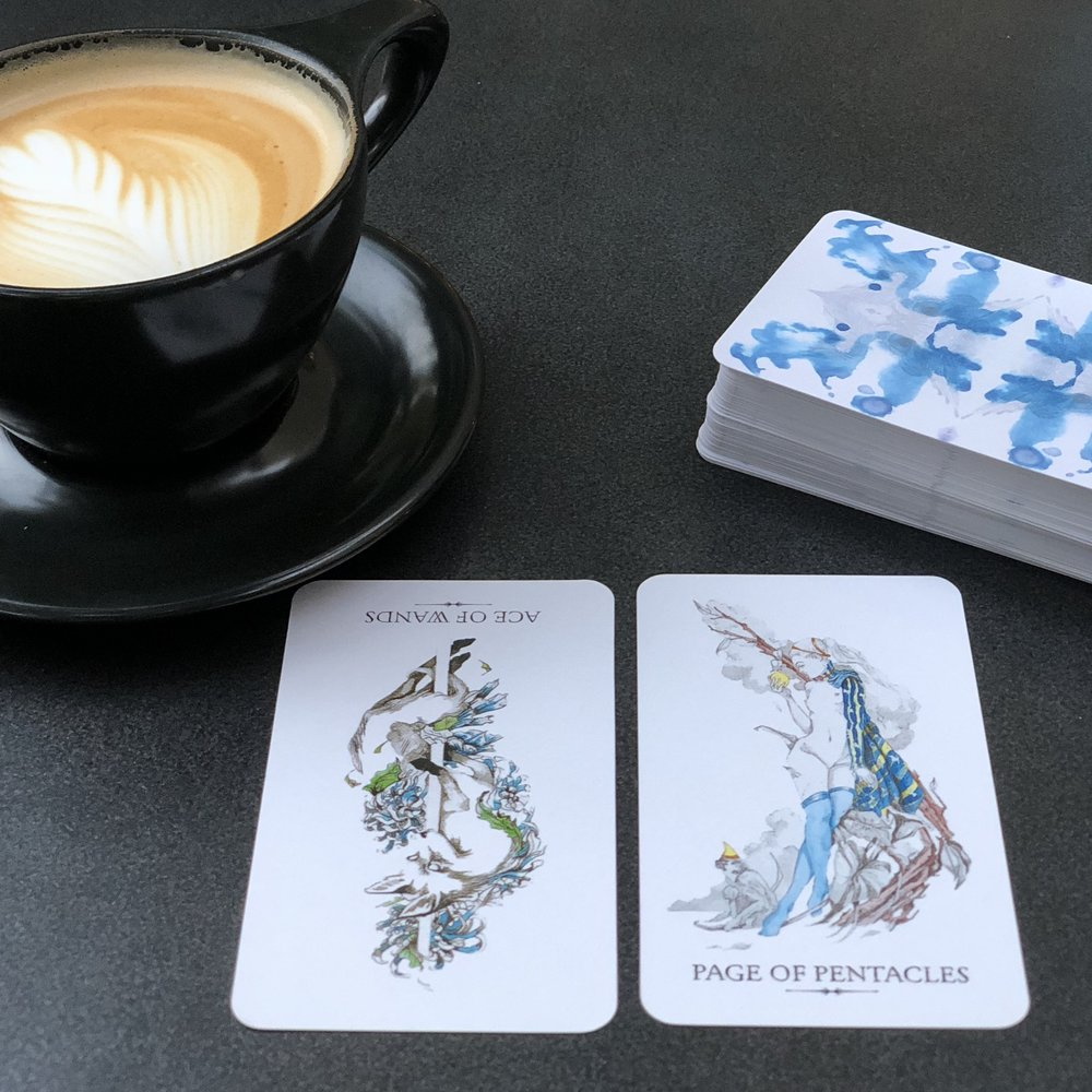 """The Alice-in-Wonderland vibe of the Page of Pentacles embodies the concept of """"linestriding,"""" walking in two worlds at the same time."""