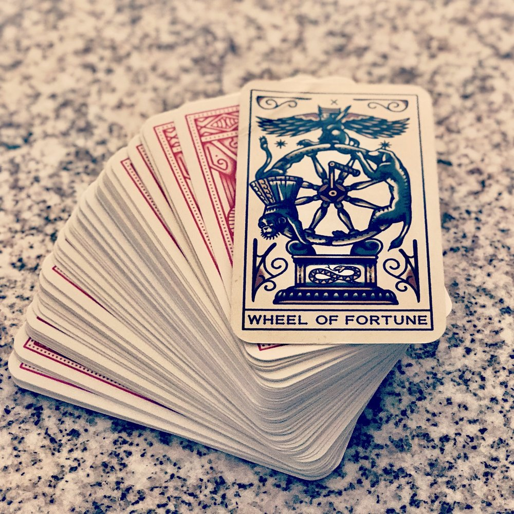 The Wheel of Fortune can be a sign of things coming your way or an opportunity to make the future what you want it to be. The choice is yours. This version of the card comes from  Tattoo Tarot  by MEGAMUNDEN and Diana McMahon-Collis (Laurence King Publishing, 2018).