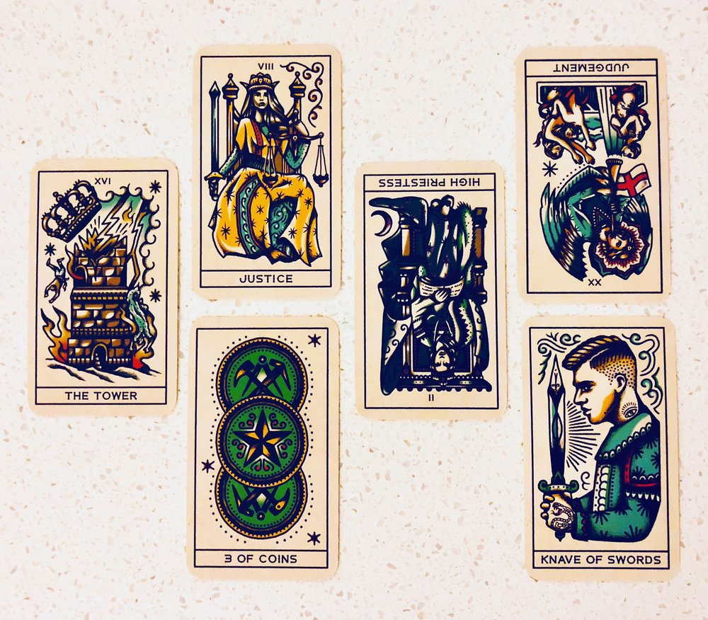 Interviewing the Tattoo Tarot - Tell me about yourself. The Tower.What are your strengths? Justice. And your limitations? Three Coins.What are you here to help me learn? The High Priestess (reversed).How can I work with you most effectively? Judgement (reversed).Where is our partnership headed? Knave of Swords.
