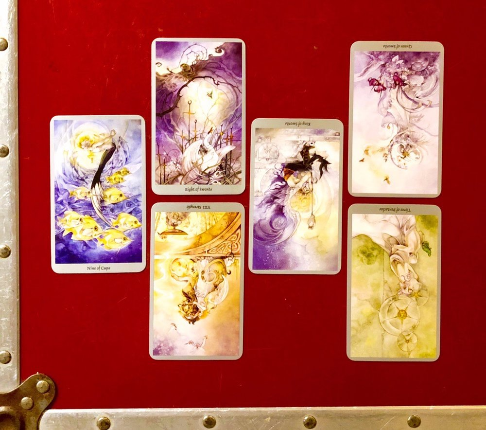 INTERVIEWING THE Shadowscapes TAROT - Tell me about yourself. Nine of Cups.What are your strengths? Eight of Swords. And your limitations? Strength (reversed).What are you here to help me learn? King of Swords (reversed).How can I work with you most effectively?Queen of Swords (reversed).Where is our partnership headed? Three of Pentacles.