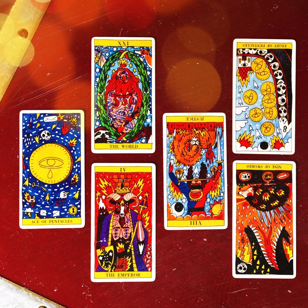 INTERVIEWING THE TAROT del Fuego - Tell me about yourself. Ace of Pentacles.What are your strengths? The World. And your limitations? The Emperor.What are you here to help me learn? Justice (reversed).How can I work with you most effectively?Eight of Pentacles (reversed).Where is our partnership headed? Nine of Swords (reversed).
