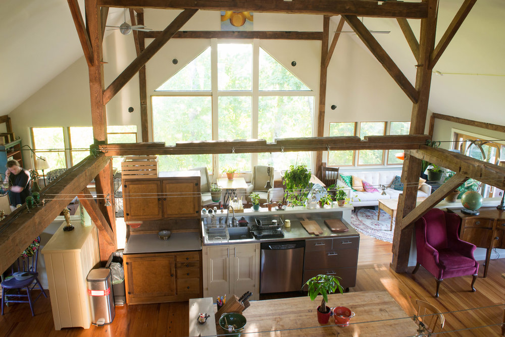 PRIVATE barn loft | price varies - Click here to reserve your dates via Airbnb. Enjoy more privacy in your own private loft located in a historic barn, just next door to the inn. The loft offers an open concept with lots of natural daylight, chef's kitchen, private entrance and deck, and one queen bed with a twin bed above it in the added loft area.