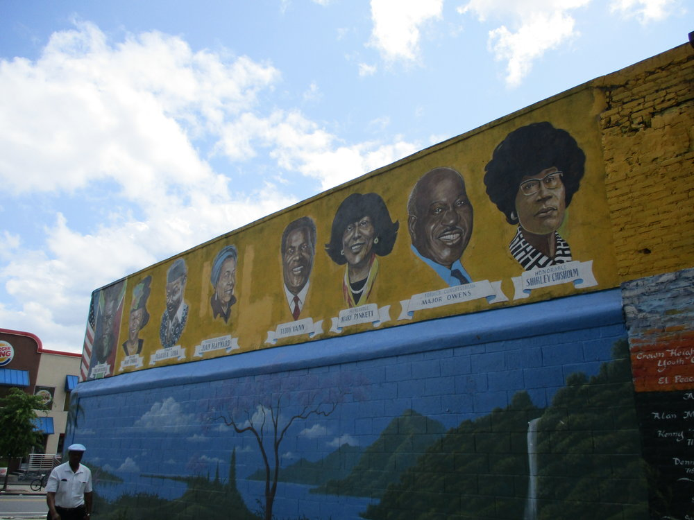 One of numerous murals celebrating Black political and social heroes. This one on Empire Blvd. on Bedford Avenue.