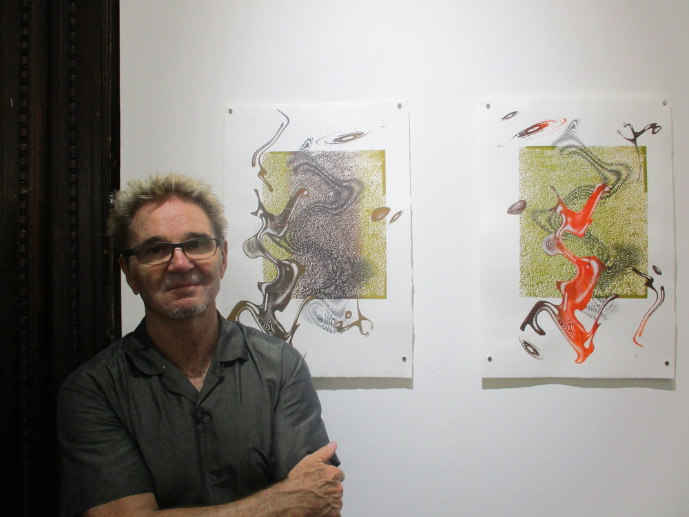 """Jeffrey Bishop at the opening of his one-man show at SRO gallery entitled """"Nomadic Mechanics,"""" Sept. 6, 2018."""