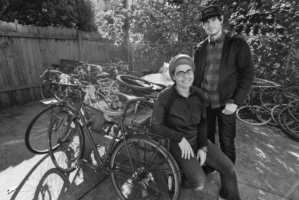 Nechama Levy and Joe in the backyard of the shop
