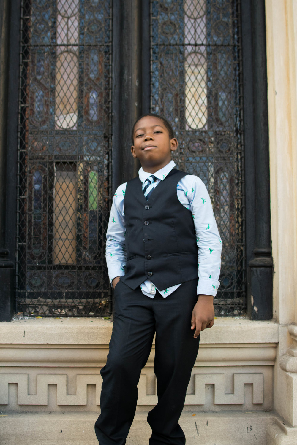 A young boy who attends Hebron French Speaking Seventh-Day Adventist Church on Dean & Nostrand
