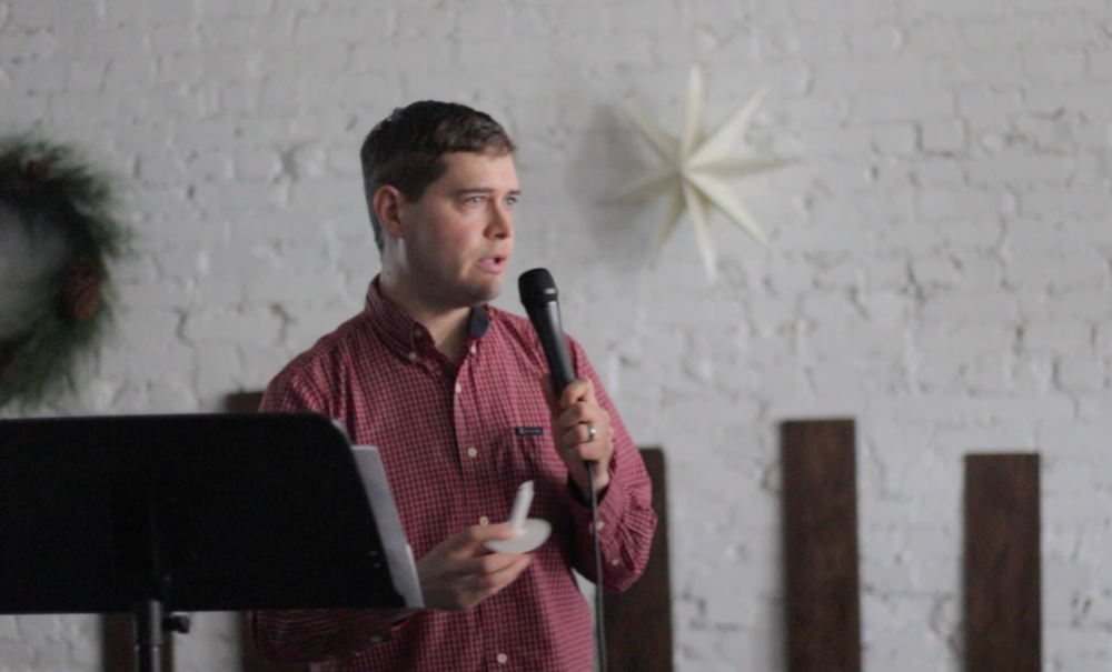 Stephen Stallard giving the sermon