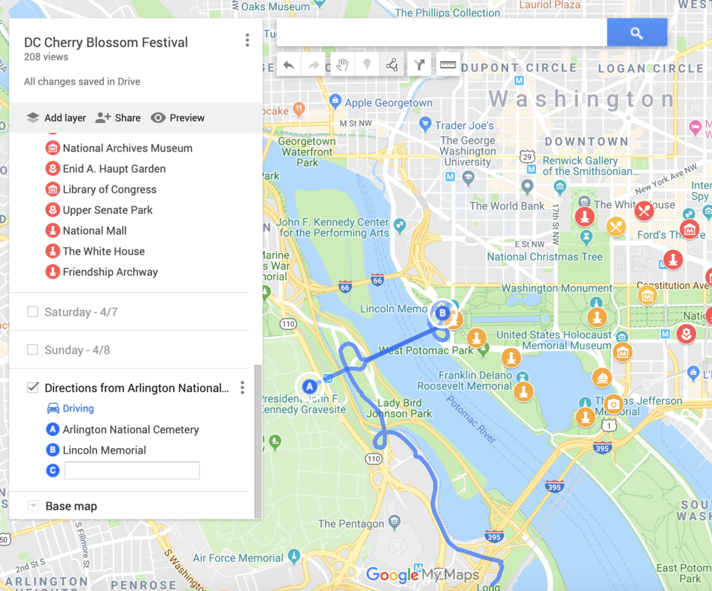How I Use Google's My Maps to Plan for Trips — First Coffee, Then Cherry Blossom Dc Map on