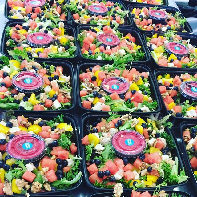 How happy would you be to show up to a work meeting and be served these salads for lunch?? Blueberry, Watermelon and Walnut Salad with Chicken and pomegranate vinaigrette!!!! #delivery #catering #mentorohio #foodforthought #healthyfood #corporateevents #corporatecatering