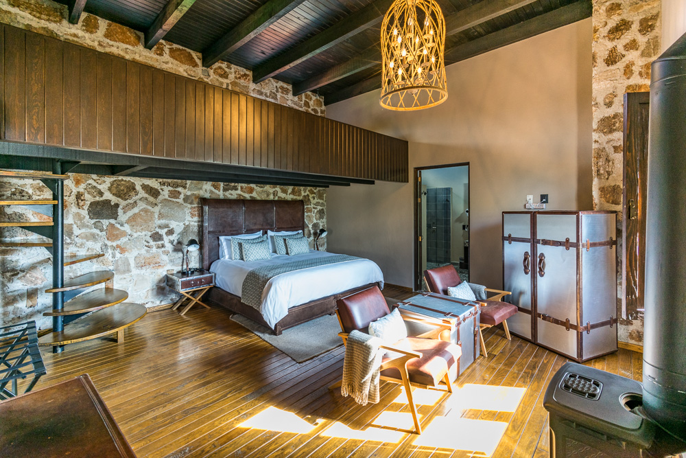 Interior of one of the rooms in the Boutique Hotel, Hacienda Tovares, Queretaro, Mexico