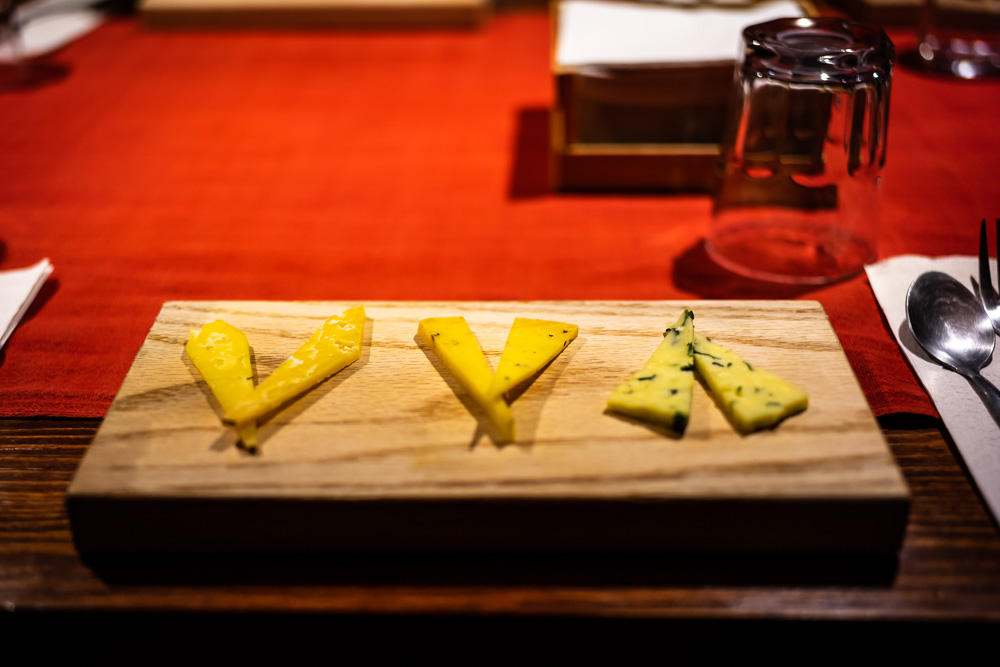 A cheese plate at Rancho La Hondonada, Queretaro, Mexico.  From left to right: Campanelo, Montanes, Adobera