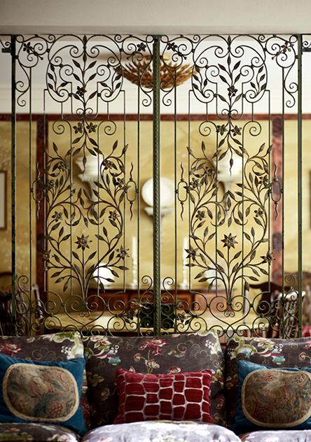 19 c. wrought-iron gate, dividing living from dining