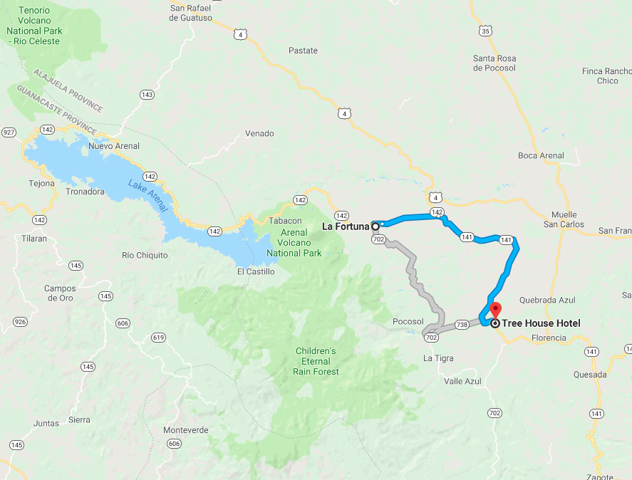 Route from La Fortuna to San Carlos