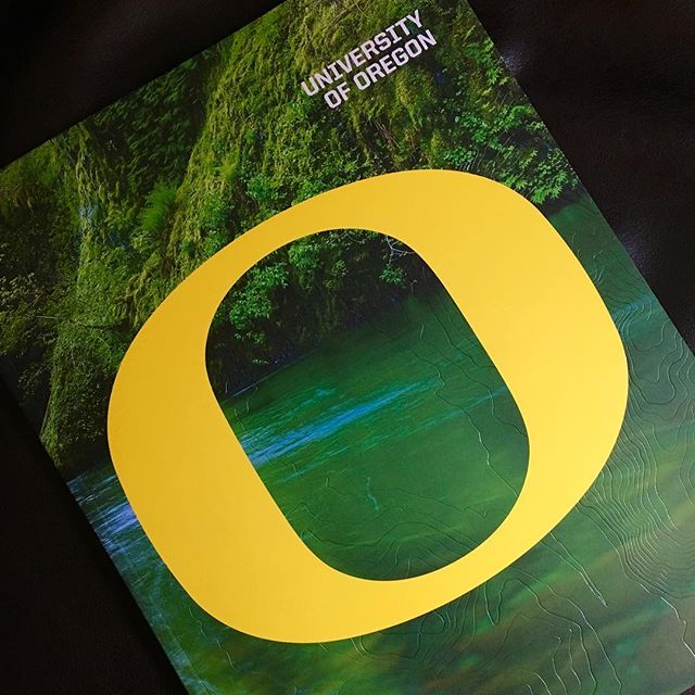 With 3 college prospects at home our mail is flooded with invites to visit schools from all over. I was really impressed with the beautiful, bold, oversized, foil stamped piece that showed up this weekend from the University of Oregon. As a Husky it pains me to say it, but #goducks