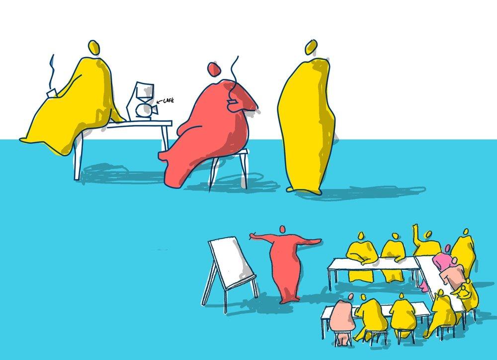 permanence - L'association organise des permanences et tables rondes, afin d'ouvrir le dialogue avec les habitants, faire remonter leurs besoins et de traduire ces échanges par un cahier des charges au plus près de leurs désirs.Puisque les mots ne peuvent pas toujours couvrir tout ce qu'on a à exprimer, FAIRE AVEC met en place des ateliers pour créer d'autres types d'échanges. Il s'agit de FAIRE AVEC des interventions artistiques, pour être à l'écoute de toutes les voix.
