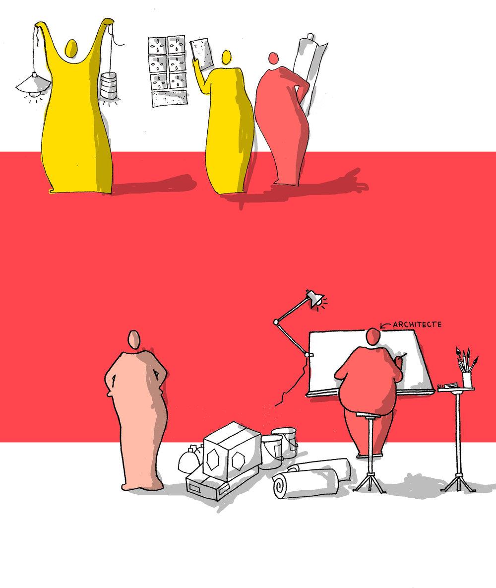 FAIRE AVEc LE DÉJÀ-LÀ - Récolter un ensemble de matériaux disparates peut devenir un atout. Des ateliers sont mis en place avec les habitants pour associer les matériaux, afin de créer des espaces singuliers, propres à chacun.L'architecte donne certes un débouché à une filière en plein essor mais aussi les moyens d'une harmonie dans l'assemblage d'un déjà-là.