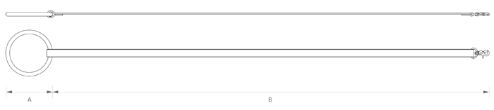 "A  | HANDLE LENGTH: 4.7"" ( Ø  12cm)   B  | LEATHER STRAP +SWIVEL LENGTH: 44"" (112cm)   TOTAL LENGTH : 48"" (122cm)"