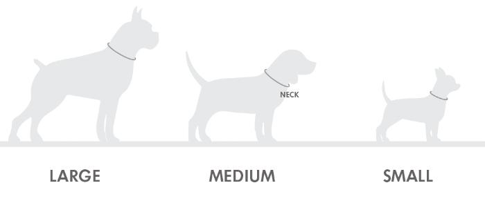 """SMALL   NECK SIZE: 8.5"""" - 12"""" (22cm - 31cm)   MEDIUM   NECK SIZE: 11.5"""" - 15.5"""" (29cm - 40cm)   LARGE   NECK SIZE: 15"""" - 19.5"""" (39cm - 50cm)"""
