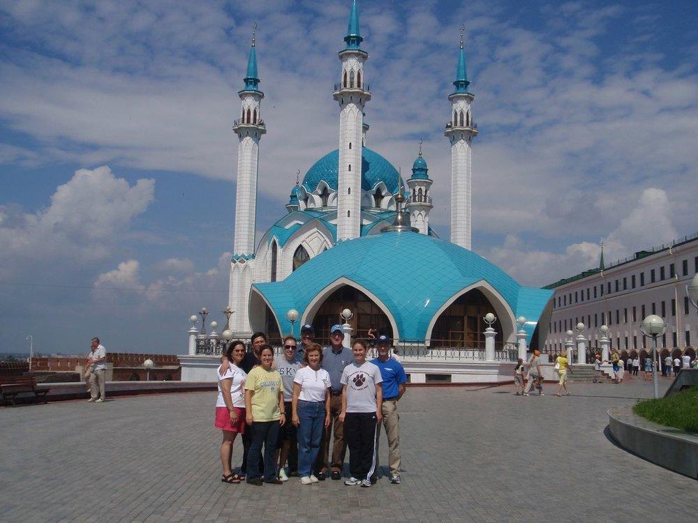 Tatarstan, Russia mosque, English camp team