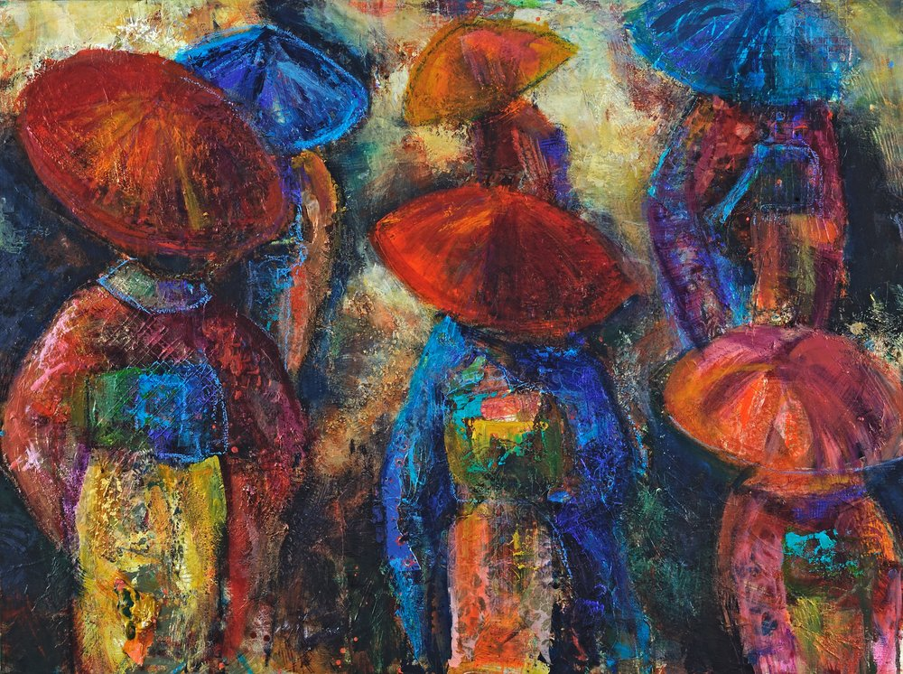 "Parasols in the Rain , mixed media on canvas, 36"" x 48"""