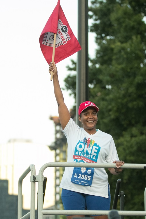 Mayor Keisha Lance Bottoms served as the official starter for the 49th AJC Peachtree Road Race in 2018.