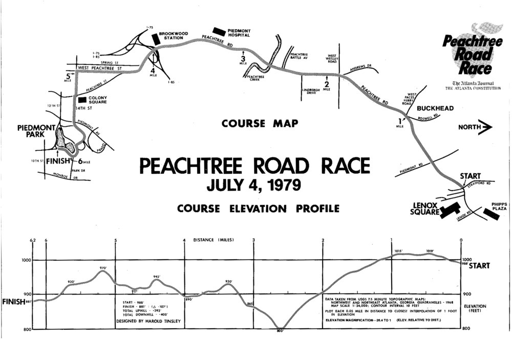 1979 AJC Peachtree Road Race course map as seen in that year's Peachtree Magazine.